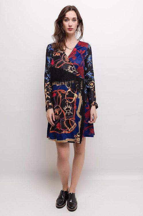 Wickelkleid mit opulentem Muster und Fransen- Preis incl. MwSt. Zzgl. Versand
