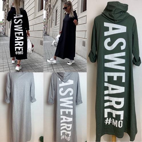 """Cooles Kapuzen Sweatkleid """"Asweare"""" in 3 Farben-Preis incl. MwSt. Zzgl. Versand"""