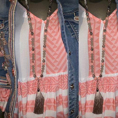 "Tasselkette ""Rose grau"" - Preis incl. MwSt. Zzgl. Versand"