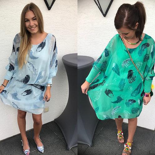Tunika / Kleid Federn mit Seide hellblau  - Preis incl. MwSt. zzgl. Versand