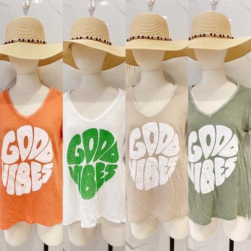 """Shirt """" Good Vibes"""" in 4 Farben Leinen Baumwolle Gemisch"""