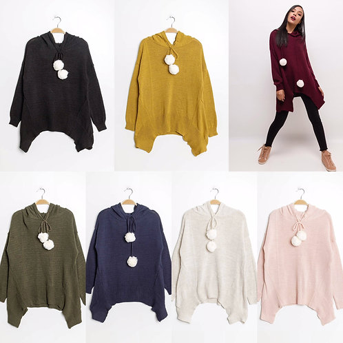 Long Pullover mit abnehmbaren Bommeln mit Kapuze-Preis incl.MwSt.Zzgl. Versand