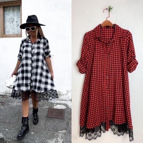 """Doll Dress """" Karo"""" mit Spitze - Preis incl. MwSt. Zzgl. Versand"""