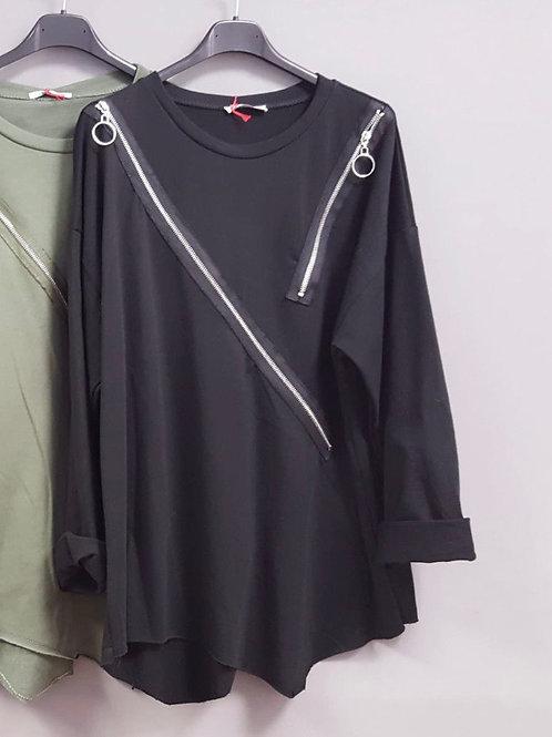 """Baumwoll Shirt """"Magic Zipper"""" asymmetrisch - Preis incl. MwSt. Zzgl. Versand"""