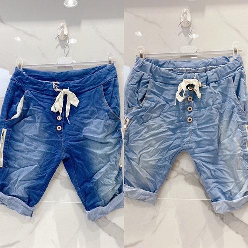 """Jeans Shorts Modell """"New San Soussi"""" mit seitlichen Reißverschlüssen in 2 Farben"""
