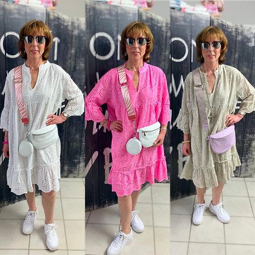 "Boho Tunika Kleid Lochstickerei Modell ""Ibiza Dream"" in 3 Farben"
