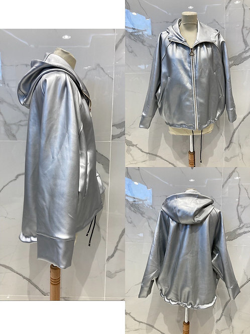 "Coole Fake Leder Jacke ""Spacy Star"" Silber - Preis incl. MwSt. Zzgl.  Versand"