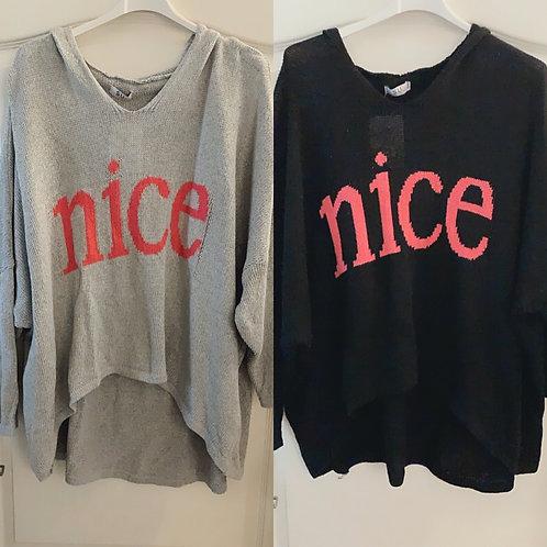 "Oversize Kapuzen Pullover ""Nice"" - Preis incl. MwSt. Zzgl. Versand"