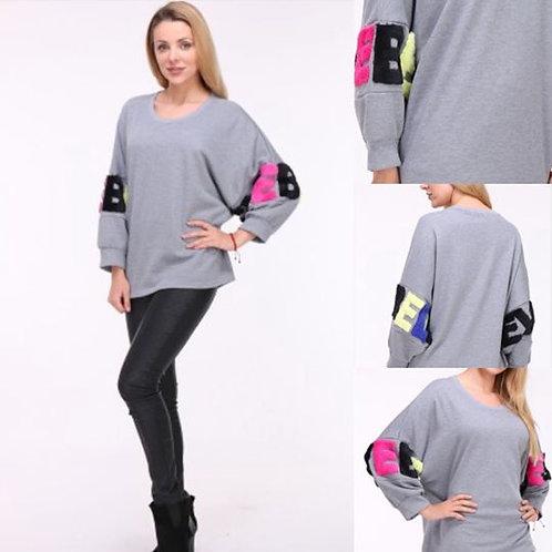 Oversize Sweatshirt mit Fake Fur - Preis incl. MwSt. zzgl. Versand