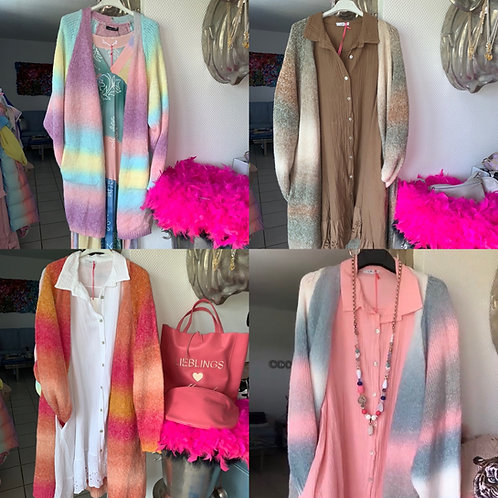 Rainbow Strickjacke / Mantel in 4 Farben