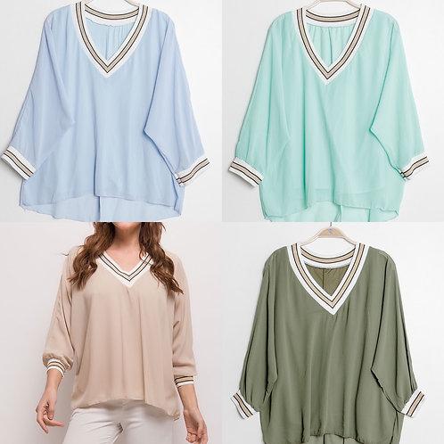 Bluse / Shirt gefüttert in 4 Farben - Preis incl . MwSt. Zzgl. Versand