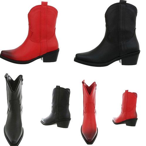 Western Stiefelette rot oder schwarz - Preis incl. MwSt. Zzgl . Versand