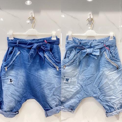 Baggy Jeans Shorts used Effekte mit Guertel