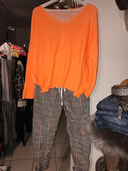 Chino Hose Karo Neon orange - Preis incl. MwSt.zzgl. Versand