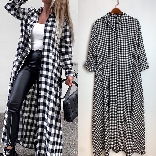 "Flanell Maxi Mantel/Kleid ""Lady Checker""  -Preis incl. MwSt. Zzgl. Versand"