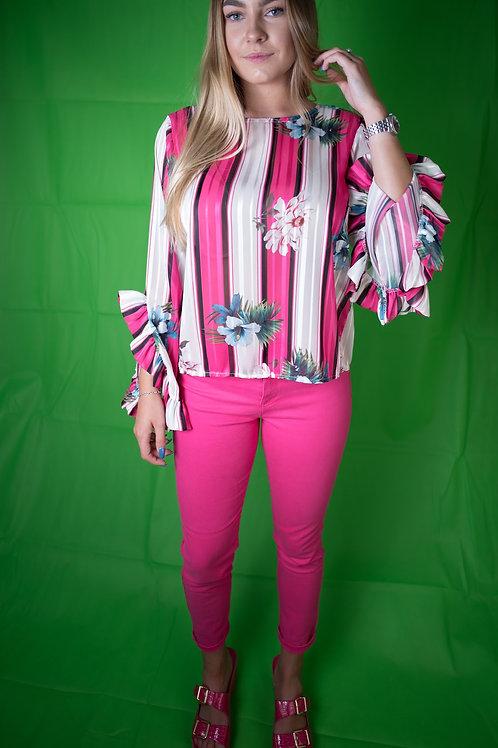 Streifen Bluse pink weiß TU bis 38/40  - Preis incl. MwSt. zzgl. Versand