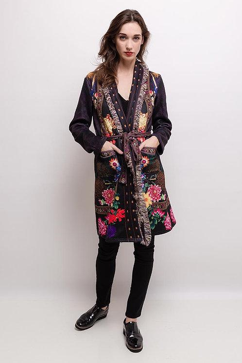 Mantel mit edlem Muster und Fransen