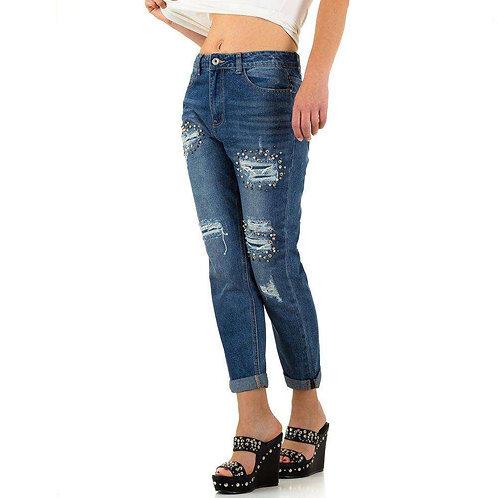 Jeans ohne Elasthan mit Nieten und Cut Outs incl. MwSt. zzgl. Versand