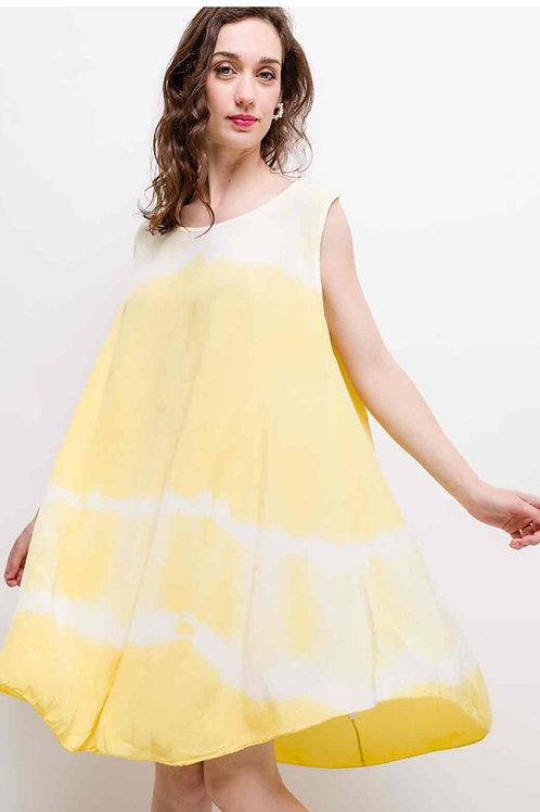 Batik Baumwoll Kleid Trägerkleid gelb