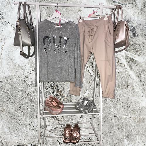 "Shirt ""oui"" grau mit Glitzer € 29,90  - Preis incl. MwSt. zzgl. Versand"