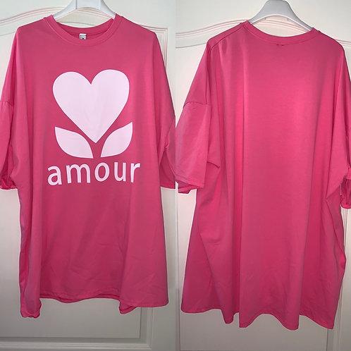 "Baumwolle Oversize Shirt "" Amour"""