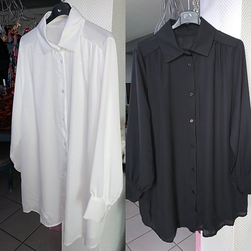 Longbluse bügelfrei in weiß und schwarz - Preis incl. MwSt . Zzgl. Versand