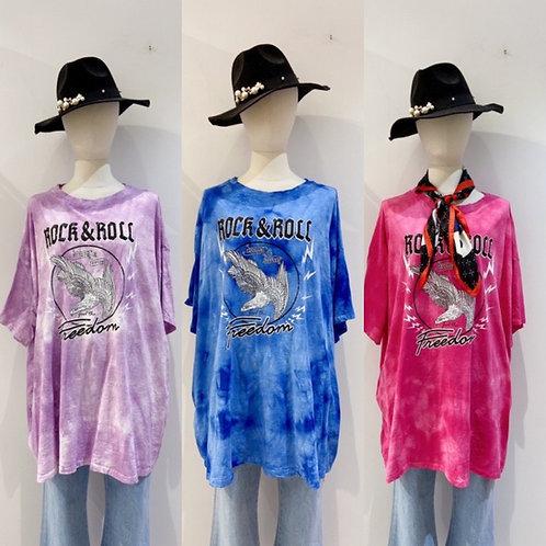"XL Oversize Baumwoll  Batik  Shirt ""Rock & Roll"" - Freedom"