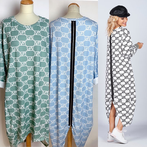 Vokuhila Zipper Kleid in 3 Farben - Preis incl. MwSt. Zzgl. Versand