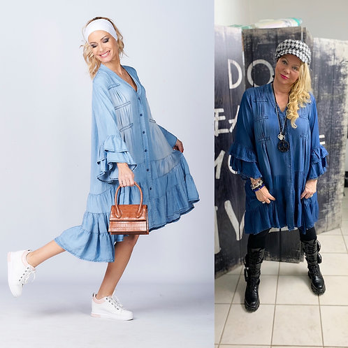 Oversize Boho Volant Jeans Kleid Tencel - Preis incl. MwSt. Zzgl. Versand
