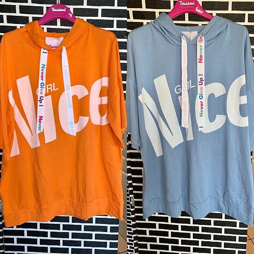"Kurzarm Sweatshirt Hoodie ""Nice Girl"""