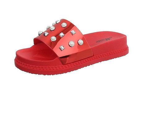 Sandale Schlappe rot mit Nieten und Perlen  - Preis incl. MwSt. zzgl. Versand