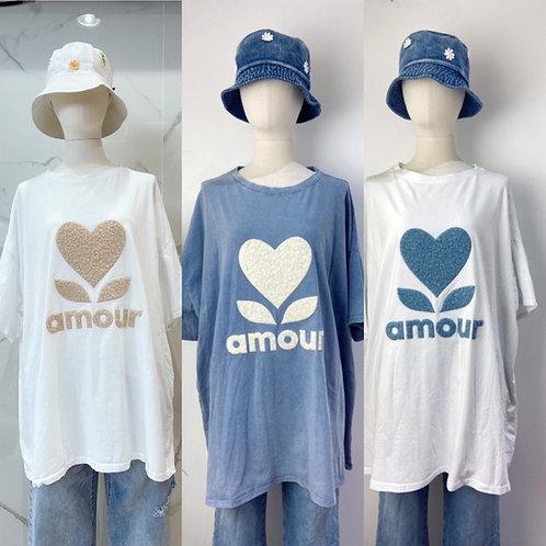 "XL Oversize Baumwoll Shirt ""Amour"" plastischer Print"