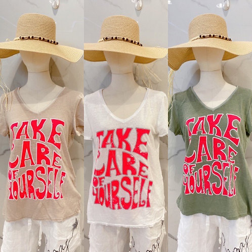 """Shirt """"Take Care of yourself"""" in 3 Farben"""