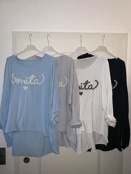 "Langarm Shirt ""Bonita"" in 4 Farben - Preis incl. MwSt. Zzgl. Versand"
