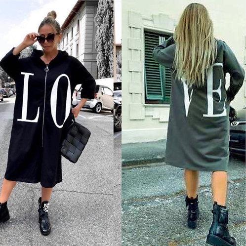 """Sweat Kapuzen Jacke """"LOVE"""" khaki oder schwarz- Preis incl. MwSt. Zzgl. Versand"""