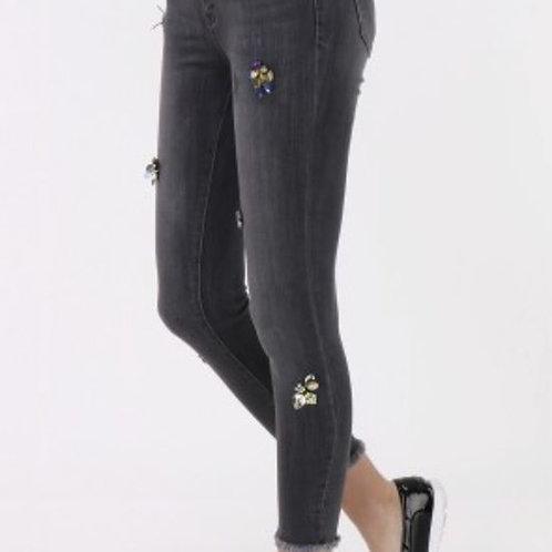 Coole Jeans in grau mit Strass Biene - Preis incl. MwSt. zzgl. Versand
