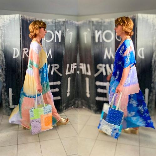 "Cooles Viskose Maxikleid Modell "" Colour Flower Dream"" in 2 Farben"