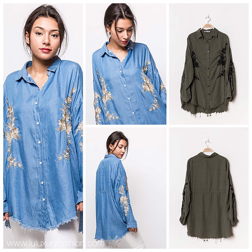 Oversize Hemd jeansblau oder Khaki mit Stickerei-Preis incl. MwSt. zzgl. Versand