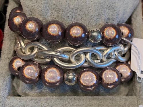 Magiclaze Perlenarmband taupe 12 mm-Preis incl. MwSt. Zzgl. Versand