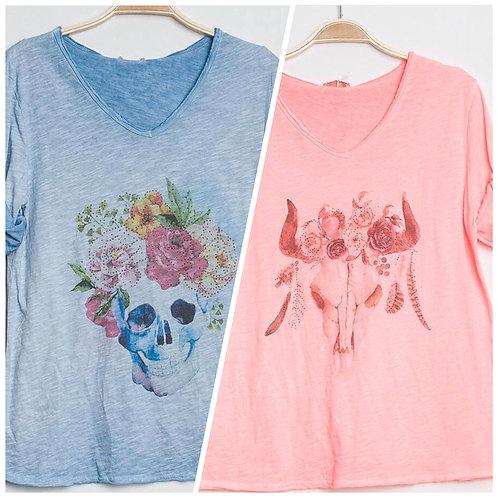 Langarm Shirt hellblau Skull oder Büffel Coral - Preis incl. MwSt. zzgl. Versand