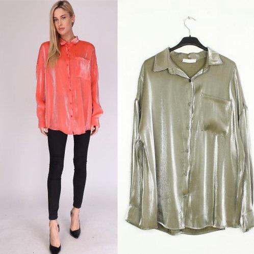 """Oversize metallische Bluse """"Glamour"""" 2 Farben - Preis incl. MwSt. Zzgl. Versand"""