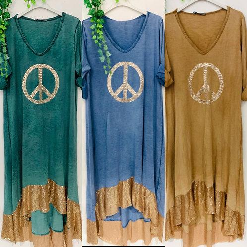 "Baumwoll Kleid ""Colourful Peace"" - Preis incl. MwSt. Zzgl. Versand"