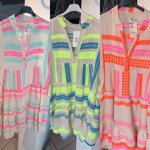 Baumwoll Tunika Ethno Style mit Neon Akzenten in 3 Farben