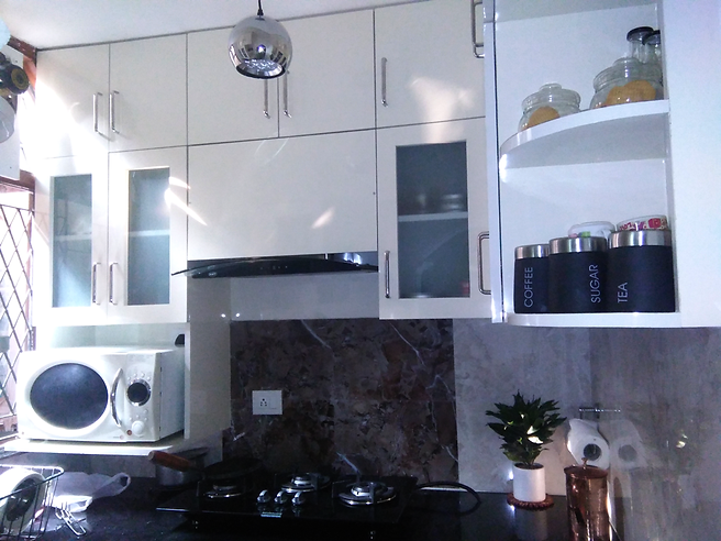 Modualr Kitchen design in Grey & White combination