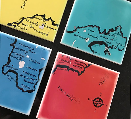 4-Piece Map of Tiree - Set of Four (in one colour)