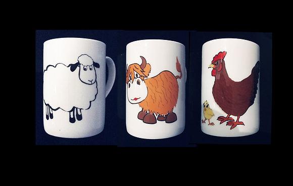 SET of 3 Farm Animal Mugs