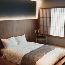 2階ベッドルーム 天然素材 石田屋の布団をご用意