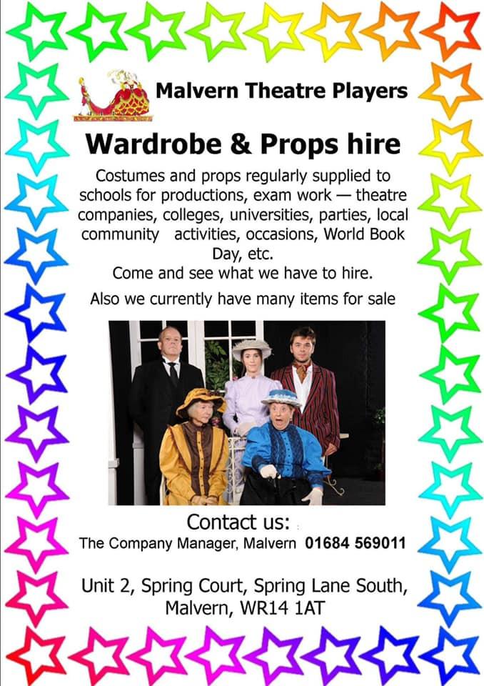 Malvern Theatre Players Hire Wardrobe Department details