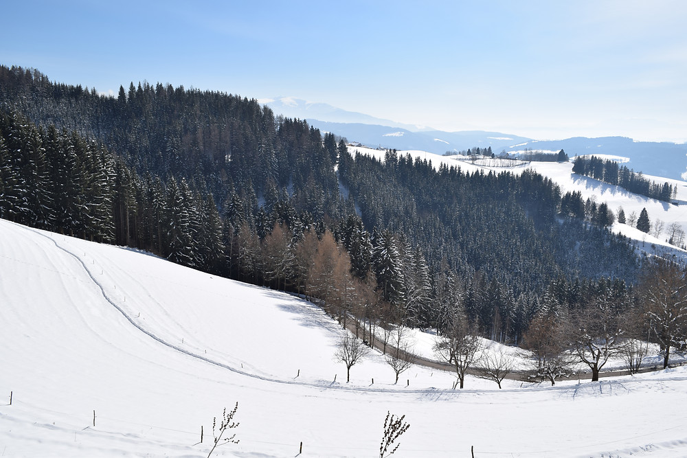 A footpath in the snow in Austria
