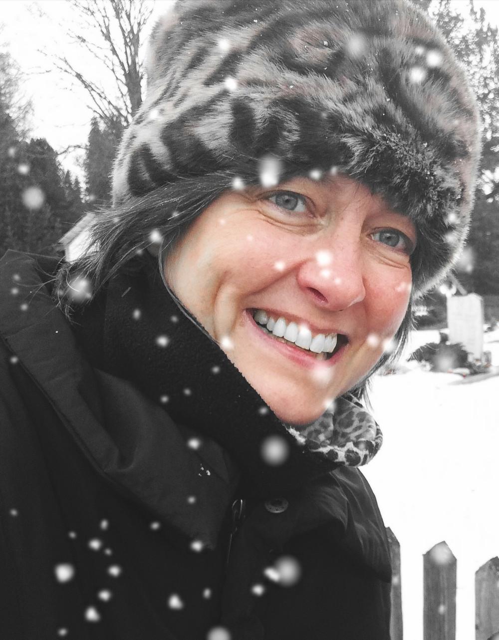 Author Amelia Marriette walking on Christmas Eve in Austria. photo credit Katie Gayle